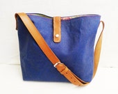 OTTOBAGS Blue Waxed Canvas Tote Bag - Leather Single Strap Shoulder bag / Tote Bag / Diaper Bag