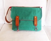 Green Waxed Canvas Messenger Bag Single Leather Strap Shoulder bag / Cross Body Messenger
