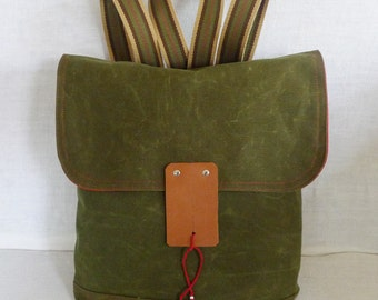 Free Express Shipping  Army Green Waxed Canvas  Backpack  with Adjustable Cotton Strap / School / Rucksack / Laptop bag / Laptop Backpack