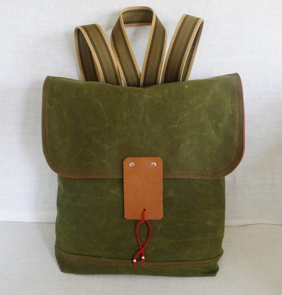 1 Army Green Waxed Canvas  Backpack  with Adjustable Cotton Strap / School / Rucksack / Laptop bag / Laptop Backpack