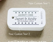 Vintage Inspired Ticket Stub gift tags - Wedding Favor Tags - Thank you tags - Hang tags - Wedding Gift Tags - Set of 40 (Item code: J239)