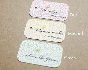Flowering Forest Personalized Gift Tags - Succulent Wedding Favor Tags - Thank you tags - Wedding Gift Tags - Set of 40 (Item code: J210)