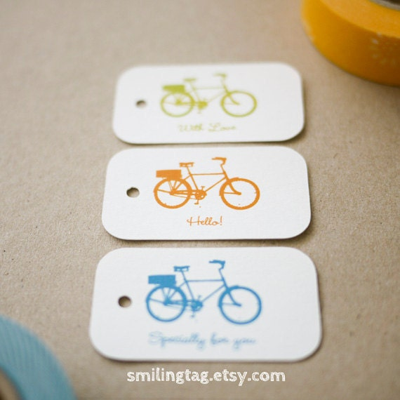 Ride a Bike Gift Tags - Wedding Favor Tags - Thank you tags - Hang tags - Wedding Gift Tags Packaging- Set of 40 (Item code: J218)