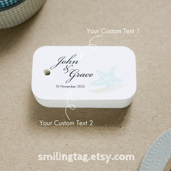 Wedding Favor Gift Tags : theme Wedding Favor Tags - Beach Gift Tags - Starfish Thank you tags ...