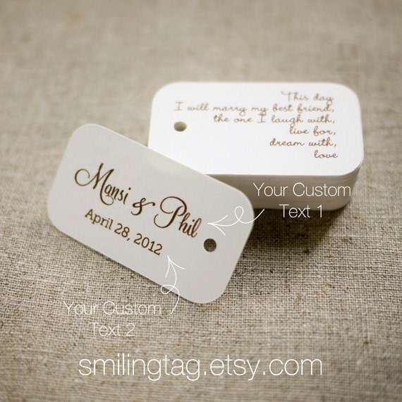 Personalised Wedding Gift Tags : Day Personalized Gift Tags - Custom Wedding Favor Tags - Thank you tag ...