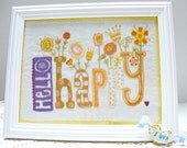 Hello happy - embroidery pattern pdf