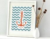 Anchor Print - 8x10 - chevron art print sea adventure series, wall art decor for baby and kids playrooms