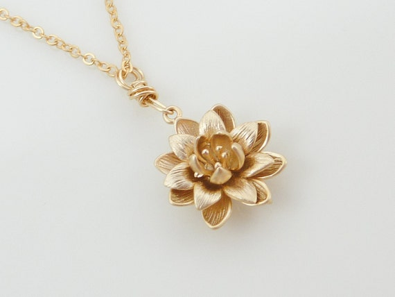 Gold lotus necklace, gold flower necklace
