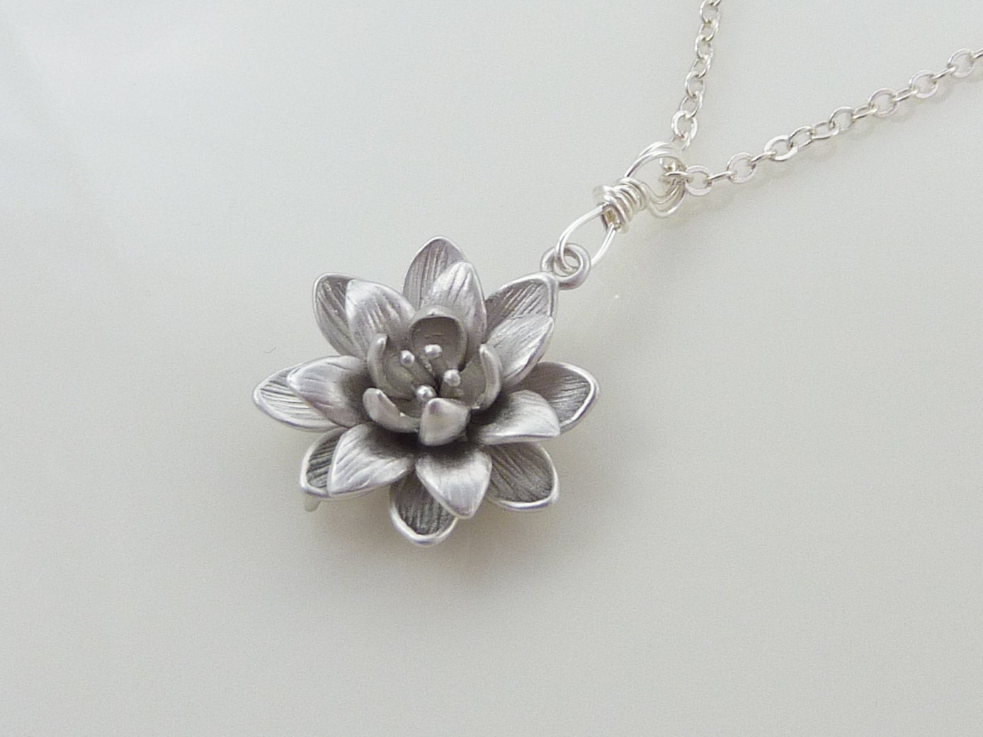 silver lotus necklace silver flower necklace