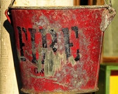 Antique Fire Bucket - 8x8 Square Fine Art Photograph on Metallic Paper - LIMITED EDITION 2 of 20 - Art for the Heart Home Decor
