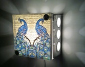 Peacock- Upcycled- Vintage Dictionary- Light Box- Night Lights