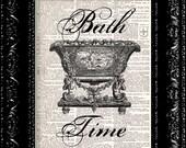 Bath Time - Vintage Dictionary Print Vintage Book Print Page Art Upcycled Vintage Book Art