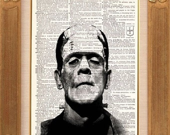 Frankenstein vintage dictionary book page art print beautifully UpCycled 8x10 Early Christmas Gift Sale