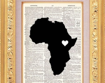 Africa Map Love Art Vintage Dictionary Print Vintage Book Print Page Upcycled Book Art