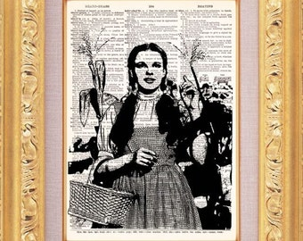 Dorothy Wizard Of Oz - - Vintage Dictionary Print Vintage Book Print Page Art Upcycled Vintage Book Art