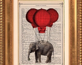Elephants Fly Away On Love - Vintage Dictionary Print Vintage Book Print Page Art Upcycled Vintage Book Art