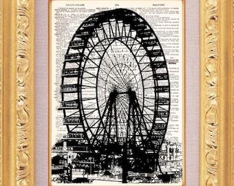 Ferris Wheel - Dictionary Print - Vintage Book Art - Upcycled Art