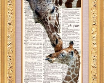 Giraffe Kisses Dictionary Art Print, Vintage Book Art, Upcycled Art