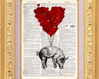 Flying Pig Love Vintage Dictionary Print Vintage Book Print Page Art Upcycled Vintage Book Art
