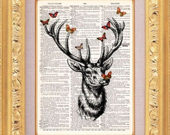 Forest Deer With Butterflies Vintage Dictionary Print Vintage Book Print Page Art Upcycled Vintage Book Art