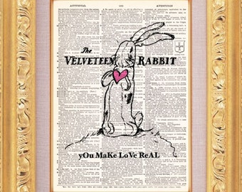 Velveteen Rabbit Vintage Dictionary Print Vintage Book Print Page Art Upcycled Vintage Book Art