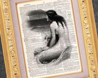 Mermaid - Vintage Dictionary Print Vintage Book Print Page Art Upcycled Vintage Book Art