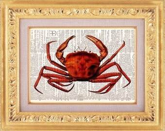 Red Crab Vintage Dictionary Print Vintage Book Print Page Art Upcycled Vintage Book Art
