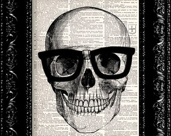 Nerd Geek Art Print - Skull In Horn Rim Glasses Vintage Dictionary Print Vintage Book Print Page Art Upcycled