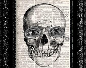 Nerdy Skull Dictionary Print - Skull - Anatomy - art print  - Vintage Book Page - halloween decor - wall decor - halloween skull