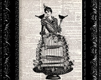 Birdcage Lady - Vintage Dictionary Print Vintage Book Print Page Art Upcycled Vintage Book Art