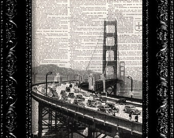 Golden Gate  San Francisco Bridge -  Vintage Dictionary Print Vintage Book Print Page Art  Vintage Book Art