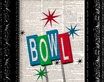 Retro Bowling Print - Vintage Dictionary Print Vintage Book Print Page Art Upcycled Vintage Book Art