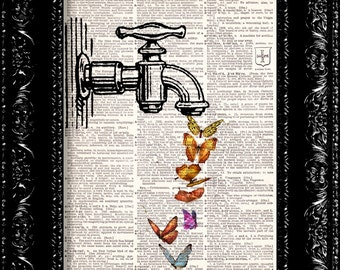 Butterfly Faucet Vintage Dictionary Print Vintage Book Print Page Art Upcycled Vintage Book Art