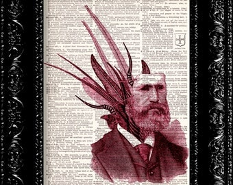 Steampunk Feather Man Vintage Dictionary Print Vintage Book Print Page Art Upcycled Vintage Book Art