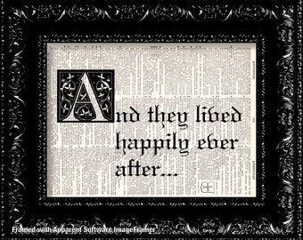 Wedding Print - And They Lived Happily Ever After - Vintage Dictionary Print Vintage Book Print Page Art Upcycled Vintage Book Art