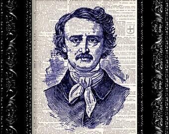 Edgar Allen Poe Vintage Dictionary Print Vintage Book Print Page Art Upcycled Vintage Book Art