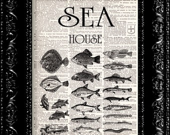 Sea House Poster Vintage Dictionary Print Vintage Book Print Page Art Upcycled Vintage Book Art
