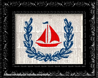 Little Red Sailboat Vintage Dictionary Print Vintage Book Print Page Art Upcycled Vintage Book Art