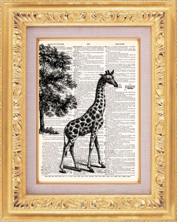 BOGO SALE  Safari Giraffe Art Print - Vintage Dictionary Print Vintage Book Print Page Art Upcycled Vintage Book Art