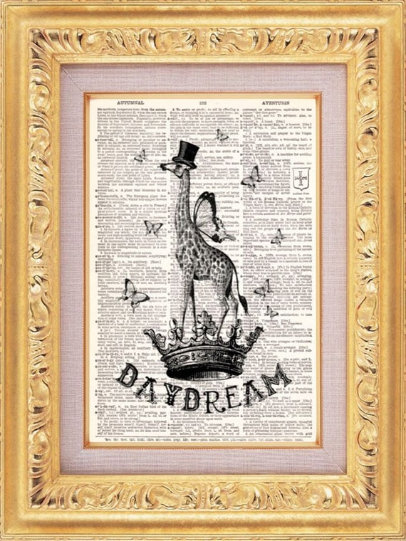 Daydream Giraffe Vintage Dictionary Print Vintage Book Print Page Art Upcycled Vintage Book Art