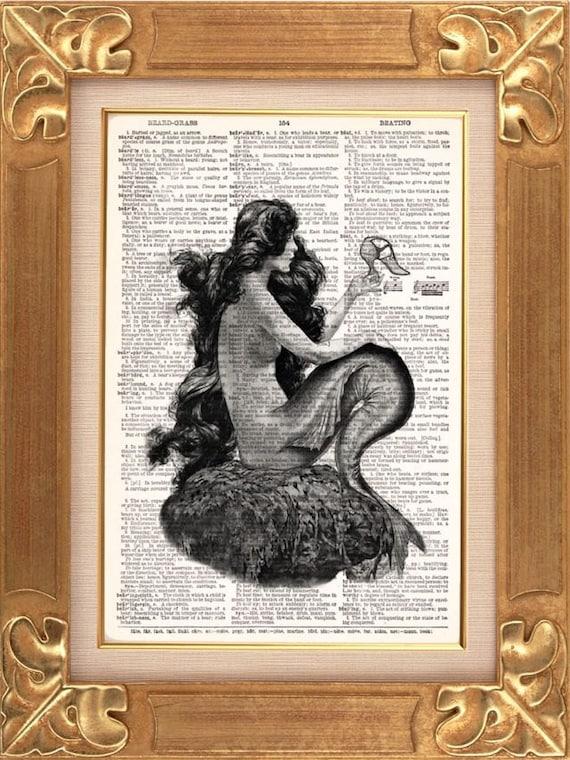 Mermaid With Cinderella Slipper -  Vintage Dictionary Print Vintage Book Print Page Art Upcycled Vintage Book Art