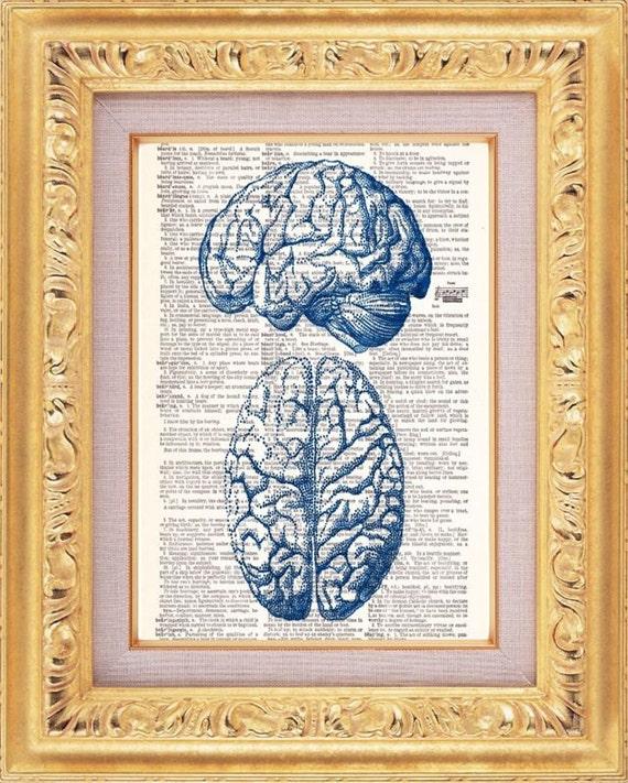 BOGO Sale Blue Brain Anatomy - Vintage Dictionary Print Vintage Book Print Page Art Upcycled Vintage Book Art