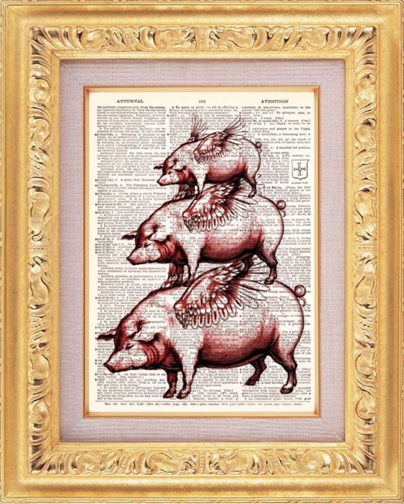 BOGO Tower Of Bacon Print - Vintage Dictionary Print Vintage Book Print Page Art Upcycled Vintage Book Art