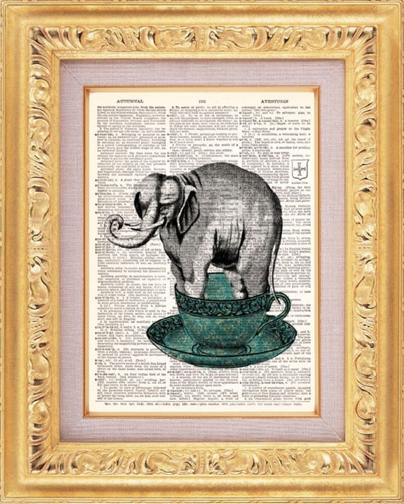 Elephant In A Teacup - Vintage Dictionary Print Vintage Book Print Page Art Upcycled Vintage Book Art