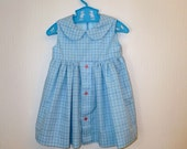 1 year Blue check dress with peter pan collar