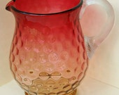 """Reduced Antique AMBERINA INVERTED Baby THUMBPRINT Pitcher Vintage  With Clear Reeded Applied Handle 7 1/8 """" Tall x 5"""" di Ca 1890's"""
