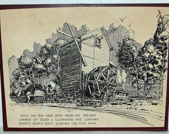 """Vintage 1859 CONCEPTION of DODDTOWN, N J 2 Pen & Ink by Natale MAZZEO, See Peter Hastings Falks bk 'Who Was Who n American Art', 1564-1975"""""""