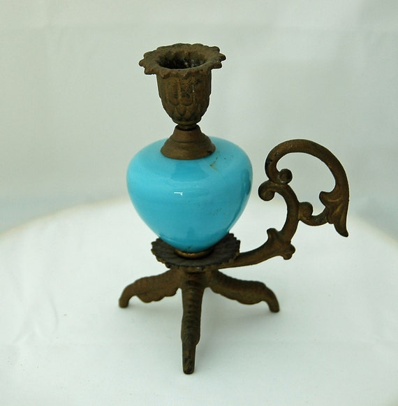 Rare Claw Foot Victorian CANDLE HOLDER Blue Turquoise Font