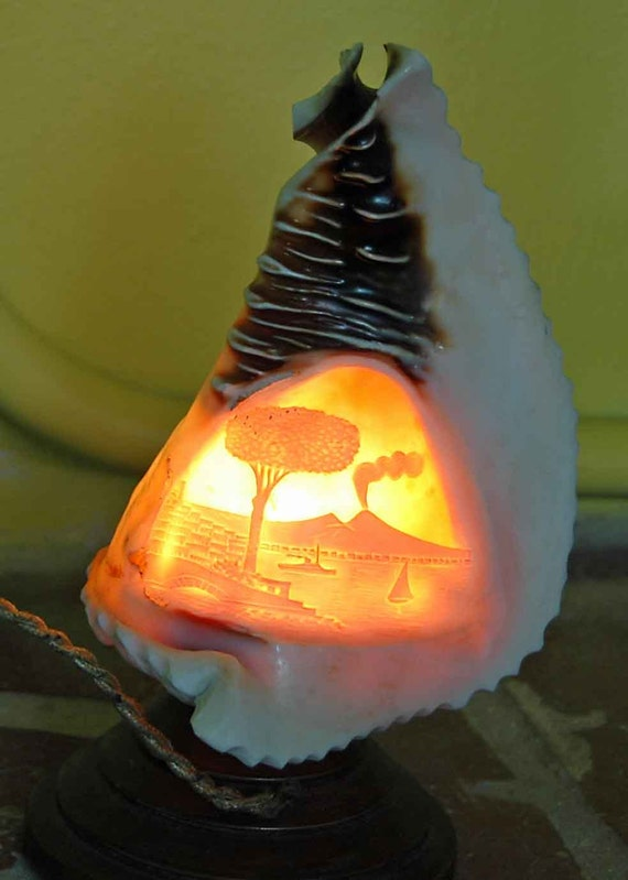 Reduced: Antique Victorian  NAPLES BAY LAMP Hand Carved Carnelian Cameo Conch Shell  W/ Hand Carved Wood Base Ca 1880-1890 !