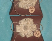 4 burlap wedding or gift treat pillow boxes